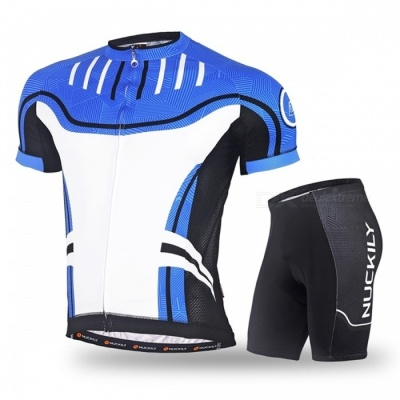 NUCKILY Cycling Short-Sleeved Suits for Men / Women - Blue (XXL)