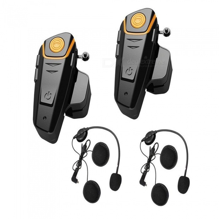 1000m 5 Riders FM Motorcycle Helmet Bluetooth Interphones (2PCS)Motorcycle Interphone<br>Form  ColorBlack + Orange (EU Plug / 2PCS)Quantity2 DX.PCM.Model.AttributeModel.UnitMaterialABSApplicationOthers,HelmetBluetooth VersionBluetooth V3.0Transmit Distance10 DX.PCM.Model.AttributeModel.UnitTuner Bands76~108MHzOutput Frequency Range2.4GHz DX.PCM.Model.AttributeModel.UnitIntercom FunctionYesIntercom Effective Distance800~1000 DX.PCM.Model.AttributeModel.UnitSupport Intercom Riders5Talk Timeabout 8 DX.PCM.Model.AttributeModel.UnitStandby Timeabout 400 DX.PCM.Model.AttributeModel.UnitBuilt-in Battery Capacity 450 DX.PCM.Model.AttributeModel.UnitWaterproof FunctionYesInterface1 x 3.5mm,1 x micro USBOther FeaturesMotorcycle Helmet Wireless Bluetooth Intercom Headphone resolve your communication problem when riding a motorcycle. Its convenient for communication between the riders or between the rider and the pillion. With DSP echo cancellation and noise suppression technology, crystal clear voice quality gives you clear communication. Its perfectly suitable for motorcycle, skiing, snowmobile, etc.Packing List2 x Bluetooth intercoms2 x Stereo Headsets2 x Screwdrivers4 x Screws4 x Velcros2 x Gaskets2 x EU plug chargers (110-240V)2 x USB cables (100cm)2 x Audio cables (40cm-100cm)1 x English Manual<br>