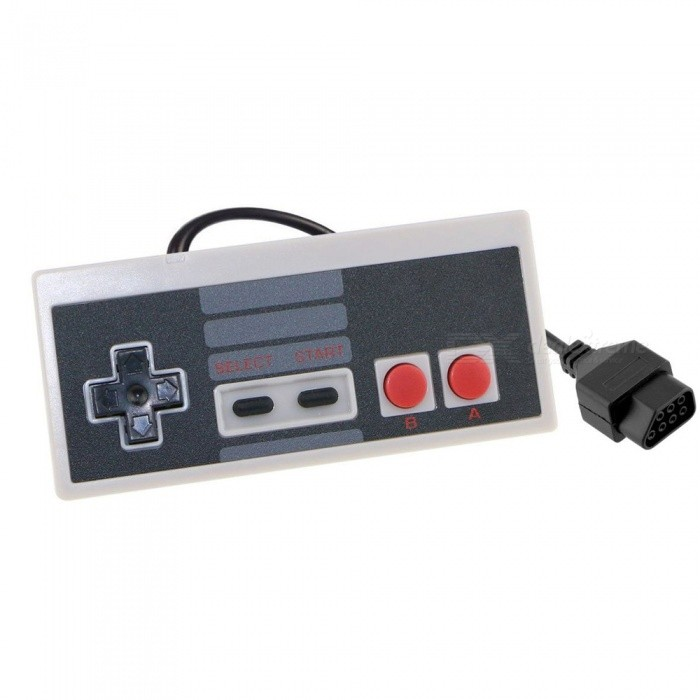 Kitbon Classic Game Controller Gamepad Joystick for Nintendo NES 8 BitOther Accessories<br>Form  ColorGrey + Black + Multi-ColoredQuantity1 DX.PCM.Model.AttributeModel.UnitMaterialPlastic shellShade Of ColorGrayCompatible ModelsOthers,NES 8 BitPacking List1 x Game controller<br>