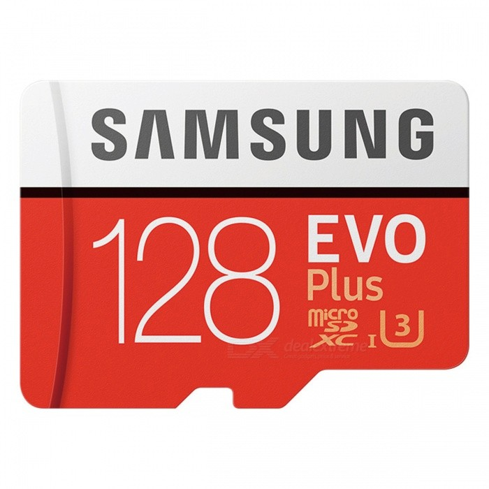 Samsung EVO Plus Micro SDHC USH-1 U3 128GB Class10 100M/S CardMicroSD TF Cards<br>Capacity128GBBrandSamsungModelMB-MC128G/CNQuantity1 pieceForm  ColorRedSpeed ClassUHS-I (U3)Max Read Speed100M/sMax Write Speed90M/sOverwrite Protection SwitchNoPacking List1 x MB-MC128G/CN<br>