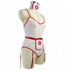 Sexy Perspective Mesh Crotch-Open Nurse Uniform Suit - White + Red