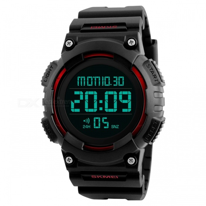 SKMEI 1248 50m Waterproof Mens Digital Sports Watch - RedSport Watches<br>Form  ColorRedModel1248Quantity1 pieceShade Of ColorRedCasing MaterialPCWristband MaterialPUSuitable forAdultsGenderUnisexStyleWrist WatchTypeSports watchesDisplayDigitalMovementDigitalDisplay Format12/24 hour time formatWater ResistantWater Resistant 5 ATM or 50 m. Suitable for swimming, white water rafting, non-snorkeling water related work, and fishing.Dial Diameter5.3 cmDial Thickness1.4 cmWristband Length24 cmBattery1 x CR2032Packing List1 x Watch<br>