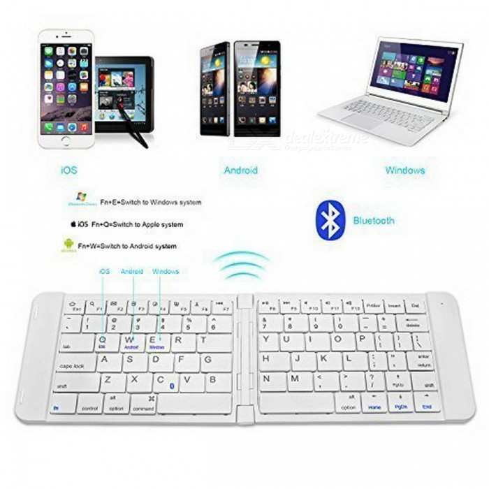 RII K09 Ultra-schlanke Mini Wireless Faltbare Bluetooth Tastatur - Weiß