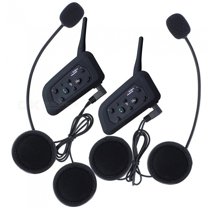 1200m 6 Riders Motorcycle Helmet Bluetooth Interphone (EU Plug / 2PCS)Motorcycle Interphone<br>Form  ColorBlack + EU Plug / 2PCSQuantity2 DX.PCM.Model.AttributeModel.UnitMaterialABSTransmit Distance10 DX.PCM.Model.AttributeModel.UnitTuner Bands2.402~2.480GHzIntercom Effective Distance1200 DX.PCM.Model.AttributeModel.UnitSupport Intercom Riders6Talk Time8 DX.PCM.Model.AttributeModel.UnitStandby Time240 DX.PCM.Model.AttributeModel.UnitBuilt-in Battery Capacity 530 DX.PCM.Model.AttributeModel.UnitOther FeaturesSuitable for motorcycle, skiing, climbing and sending as presents, etc.Packing List2 x Bluetooth Headset Intercoms2 x Stereo Headphones2 x Clamps1 x Metal Screwdrivers4 x Screws2 x Power Adapters2 x USB Cables1 x English User manual<br>