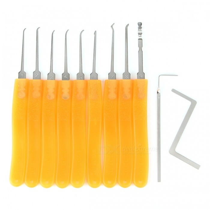HakkaDeal 11-in-1 Lockpick Single Picks + Torsion Wrench Kit - Orange