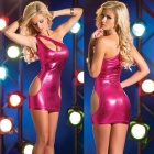 Leather Slim Hip Sexy One-Shoulder Dress Lingerie - Deep Pink