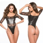 Ultra Sexy Leather Half Sleeve Lace Stitching Lingerie - Black