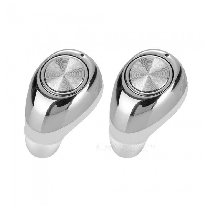 Mini Invisible True Wireless Earbuds Bluetooth Earphones - SilverHeadphones<br>Form  ColorSilverBrandOthers,NoMaterialABSQuantity1 setConnectionBluetoothBluetooth VersionBluetooth V4.1Operating Range10mConnects Two Phones SimultaneouslyYesHeadphone StyleBilateral,In-EarWaterproof LevelIPX0 (Not Protected)Applicable ProductsUniversalHeadphone FeaturesPhone Control,Noise-Canceling,With Microphone,Lightweight,For Sports &amp; ExerciseSupport Memory CardNoSupport Apt-XNoBattery TypeLi-ion batteryBuilt-in Battery Capacity 70 mAhPacking List2 x Bluetooth headsets1 x Charge cable 1 x Storage bag1 x Manual<br>
