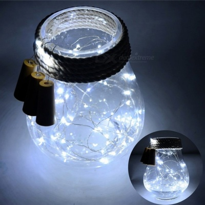 2m 20-LED Cold White Fairy String Bottle Cork Light w/ Button Battery