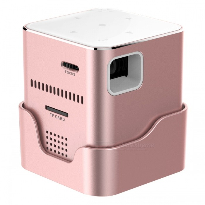 ORIMAG P6 Portable Smart Mini DLP LED FHD Projector - Pink (US Plugs)