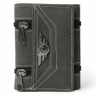 JIN BAO LAI Men's Stylish 3-Folding Split Leather Wallet - Black