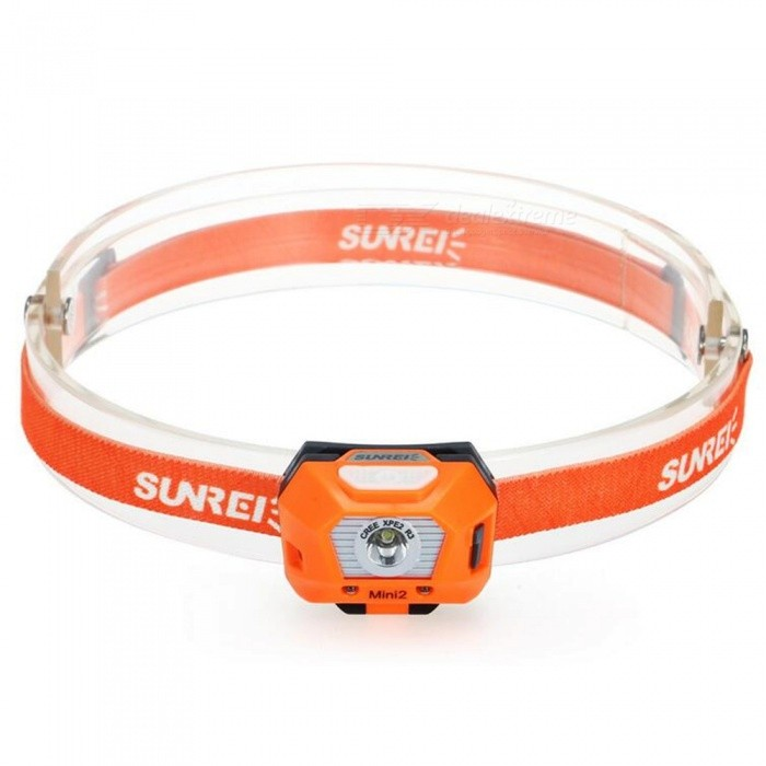 SUNREE Outdoor Waterproof 5-Mode Mini USB Charging Headlight - OrangeHeadlamps<br>Form  ColorOrangeQuantity1 pieceMaterialABS engineering plasticsEmitter BrandOthersLED TypeOthers,LEDEmitter BINothersColor BINWhiteNumber of Emitters2Working Voltage   1.5 VPower SupplyLithium batteryCurrent2000 mATheoretical Lumens400 lumensActual Lumens30 lumensRuntime3 hoursNumber of Modes5Mode ArrangementMid,Low,Slow Strobe,Fast Strobe,SOSMode MemoryNoSwitch TypeClicky SwitchSwitch LocationHeadLensGlassReflectorNoBand Length24 cmCompatible Circumference55-62cmBeam Range45 mPacking List1 x Headlamp1 x English and Chinese User Manual1 x Lithium battery<br>
