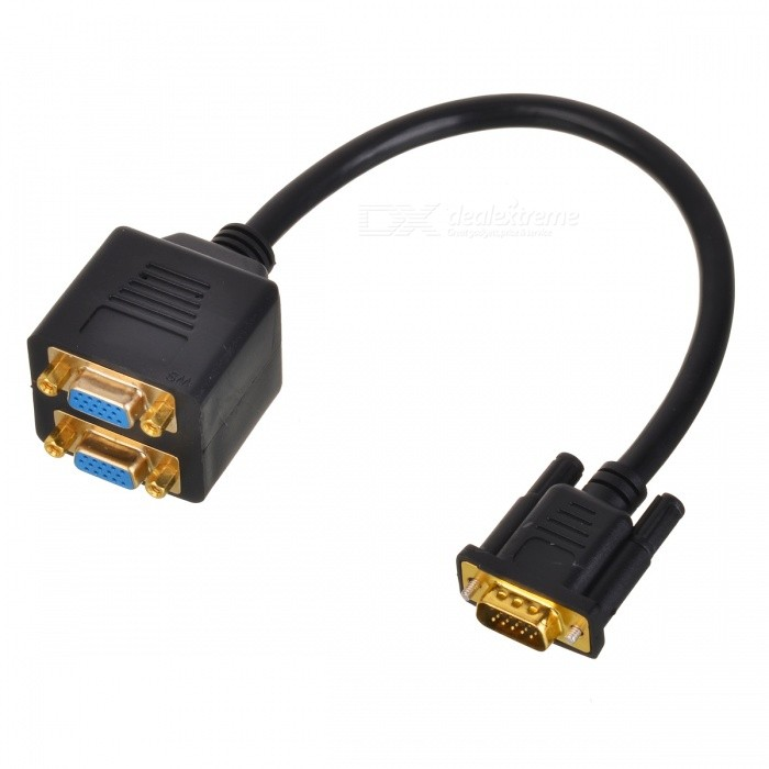 BSTUO 1 Male to 2 Female VGA Splitter Cable Adapter - Black