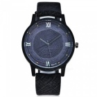 Casual Vintage Women's Quartz Watch w/ Leather Strap - Black