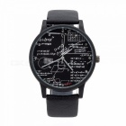 Unique Casual Quartz Leather Wrist Watch for Men Women - Black