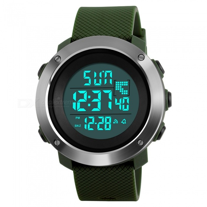 SKMEI 1268 Mens Digital Sports PU Resin Band Wrist Watch - GreenSport Watches<br>Form  ColorGreen (Large)Model1268Quantity1 pieceShade Of ColorGreenCasing MaterialPCWristband MaterialPU resinSuitable forAdultsGenderMenStyleWrist WatchTypeFashion watchesDisplayDigitalBacklightGreenMovementDigitalDisplay Format12/24 hour time formatWater ResistantWater Resistant 5 ATM or 50 m. Suitable for swimming, white water rafting, non-snorkeling water related work, and fishing.Dial Diameter44 mmDial Thickness1.4 cmWristband Length21 cmBand Width2 cmBattery1 x CR2025Packing List1 x Watch<br>