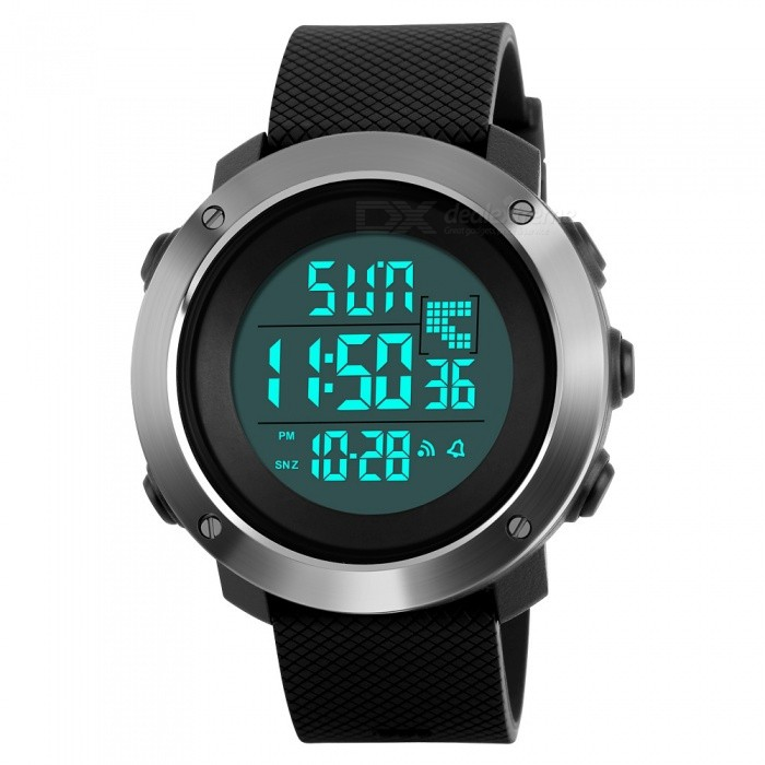SKMEI 1268 Men's Digital Sports PU Resin Band Wrist Watch - Black (L)