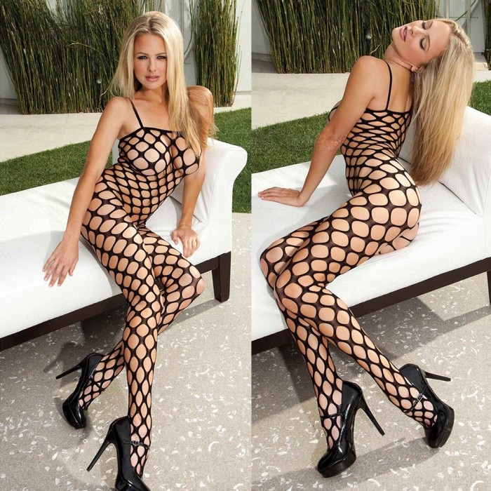 Sexy Harness Hollow-out Mesh Net Slip One-Piece Socks Lingerie - Black