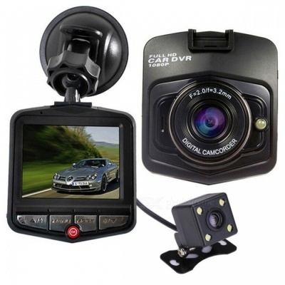 KELIMA GT300 Dual Lens Car DVR Cycle Video Recording - Black