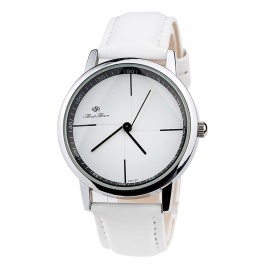 Fashion Leather Band Quartz Wrist Watch for Men Women - White