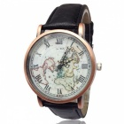 Premium Vintage Leather Strap World Map Unisex Watch