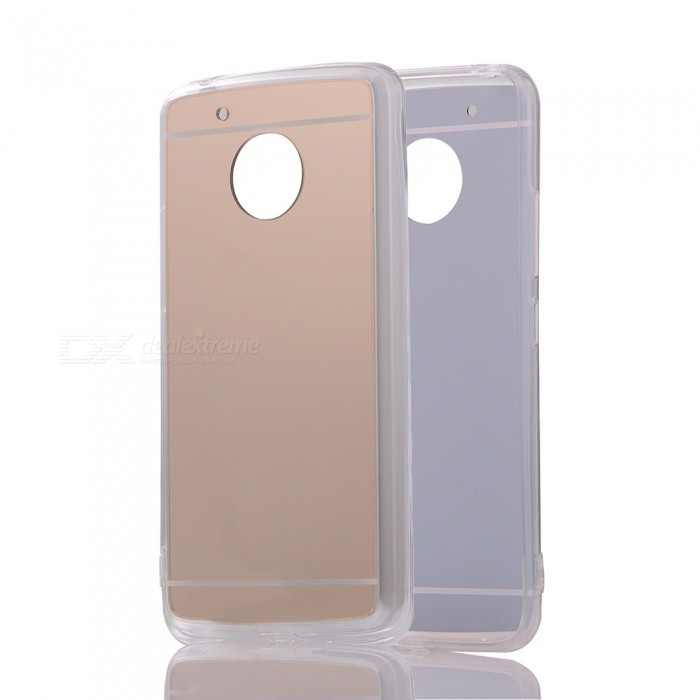 Protective TPU PC Mirror Back Case for Moto G5 - Translucent Golden