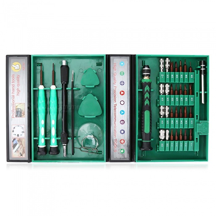 AC-8  38-in-1 Precision Screw Kit Set, Apple Disassemble Tool - GreenRepair Tools<br>Form  Colorgreen+blackModelAC-8Quantity1 DX.PCM.Model.AttributeModel.UnitMaterialChrome vanadium alloy steelCompatible ModelsApplicable to all mobile phones and tablet PCs and other electronic products.Screw DriverBits:<br> Phillips screwdriver: PH2<br> Inner hexagon socket: M2.5, M3.0, M3.5, M4.0, M4.5, M5.0, M5.5, U2.6<br> Star model: 0.8<br> Triangle type: 2.0<br> Y type: 2.0<br> O type: 0.8<br> Cross type: 1.0, 1.5, 2.0, 3.5<br> Slotted screwdriver: 1.0, 2.0<br> Torx: T3, T4, T5, T6, T7<br> Hexagon: 0.9, 1.5, 2.0, 3.0Packing List1 x Wrench1 x Wrench8 x Sleeves1 x Wiper handle2 x Triangular pieces 1 x Card slot thimble1 x Suction cup1 x Tweezers1 x Lengthened hose 1 x 0.8 screwdriver bit1 x Cross 1.5 screwdriver<br>