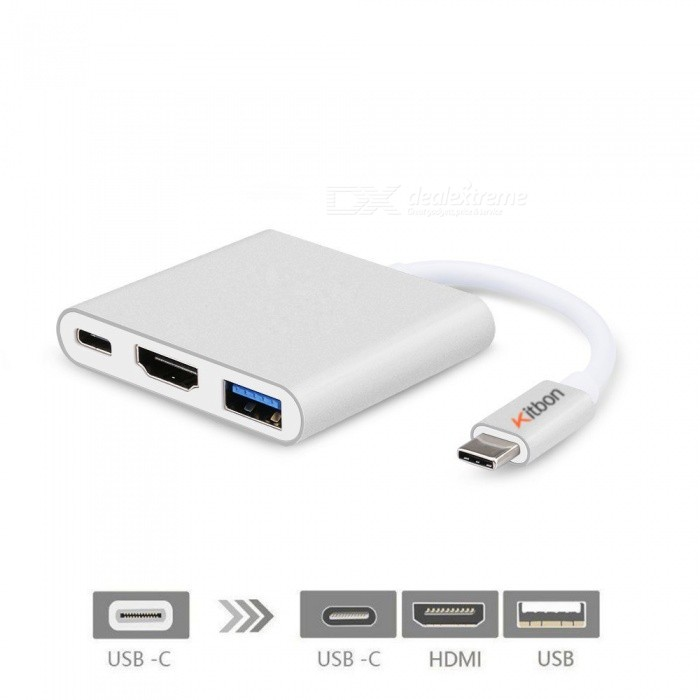 Kitbon USB 3.1 Type-C Multiport Male to HDMI USB 3.0 USB-C Hub AdapterUSB Gadgets<br>Form  ColorSilverQuantity1 DX.PCM.Model.AttributeModel.UnitMaterialAluminumInterfaceUSB 3.0,Others,USB3.1 Type C, HDMIPowered ByUSBOther Features5V voltage, current 1APacking List1 x kitbon TYPE C Adapter<br>