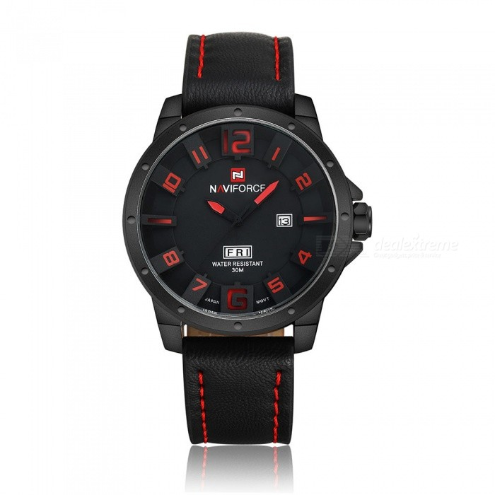 NAVIFORCE 9061 Mens Sports Army Leather Wrist Quartz Watch - RedSport Watches<br>Form  ColorRed (Without Gift Box)ModelNF9061Quantity1 DX.PCM.Model.AttributeModel.UnitShade Of ColorBlackCasing MaterialStainless SteelWristband MaterialLeatherSuitable forAdultsGenderMenStyleWrist WatchTypeSports watchesDisplayAnalogMovementQuartzDisplay Format12 hour formatWater ResistantWater Resistant 3 ATM or 30 m. Suitable for everyday use. Splash/rain resistant. Not suitable for showering, bathing, swimming, snorkelling, water related work and fishing.Dial Diameter4.6 DX.PCM.Model.AttributeModel.UnitDial Thickness1.3 DX.PCM.Model.AttributeModel.UnitWristband Length25 DX.PCM.Model.AttributeModel.UnitBand Width2.2 DX.PCM.Model.AttributeModel.UnitBattery1 x Button batteryPacking List1 x Watch<br>