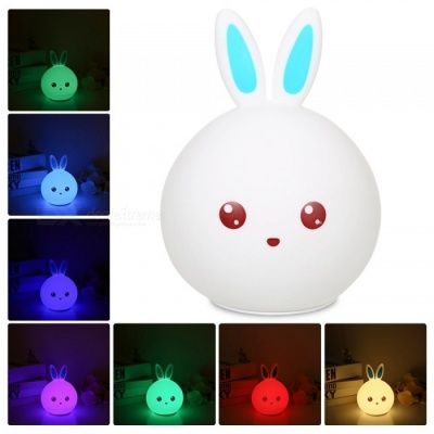 8 LEDs 3 Modes 7 Color Changing Rabbit Style Soft Silicone Night Lamp