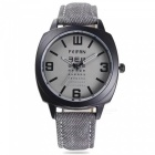 Fashion Vintage Casual Unisex Denim Strap Quartz Wrist Watch - Black