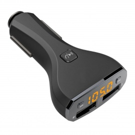 Car Charger Wireless Bluetooth Kit with FM Transmitter - Black