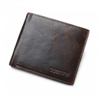 GUBINTU Men's Stylish Folding Split Leather Wallet - Black