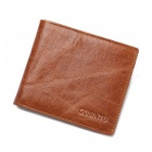 GUBINTU Men's Stylish Folding Split Leather Wallet - Coffee