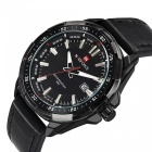 NAVIFORCE 9056 Men's Sports Army Leather Wrist Quartz Watch - Black