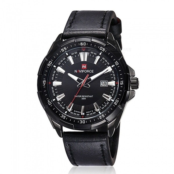 NAVIFORCE 9056 Mens Sports Army Leather Wrist Quartz Watch - BlackSport Watches<br>Form  ColorBlack (With Gift Box)ModelNF9056Quantity1 DX.PCM.Model.AttributeModel.UnitShade Of ColorBlackCasing MaterialStainless SteelWristband MaterialLeatherSuitable forAdultsGenderMenStyleWrist WatchTypeSports watchesDisplayAnalogMovementQuartzDisplay Format12 hour formatWater ResistantWater Resistant 3 ATM or 30 m. Suitable for everyday use. Splash/rain resistant. Not suitable for showering, bathing, swimming, snorkelling, water related work and fishing.Dial Diameter4.7 DX.PCM.Model.AttributeModel.UnitDial Thickness1.3 DX.PCM.Model.AttributeModel.UnitWristband Length23.5 DX.PCM.Model.AttributeModel.UnitBand Width2.3 DX.PCM.Model.AttributeModel.UnitBattery1 x Button batteryPacking List1 x Watch1 x Gift Box<br>