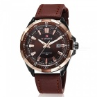 NAVIFORCE 9056 Men's Sports Army Leather Wrist Quartz Watch - Brown