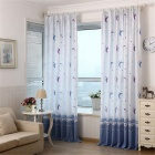 Moon Star Pattern Bedroom Living Room Window Curtain Home Decor - Blue