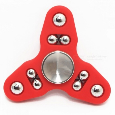 9-ball Tri-spinner Hand Spinner Fidget Toy Stress Reliever Tool - Red