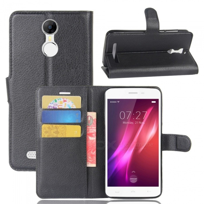 Lichee Pattern Protective Case for HOMTOM HT27 - Black