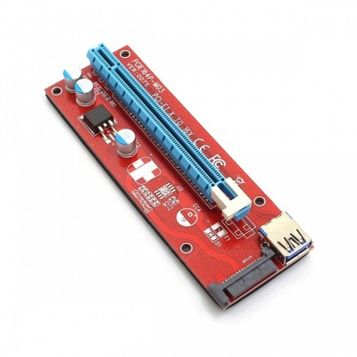 Kitbon SATA Powered PCI-E 1X to 16X Riser Card Extender Converter Card