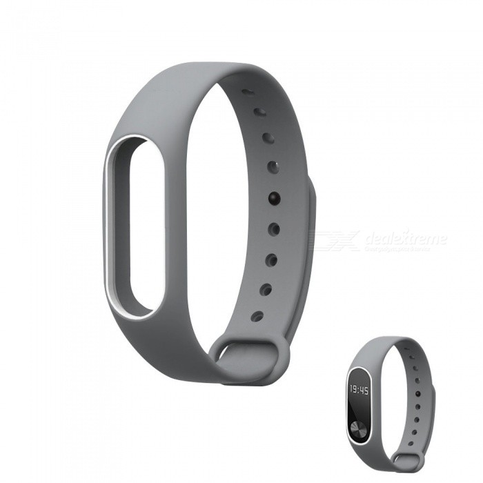 Replacement TPU Wrist Band for Xiaomi MI Band 2 - Gray WhiteWearable Device Accessories<br>Form  ColorGray with WhiteQuantity1 DX.PCM.Model.AttributeModel.UnitMaterialTPUPacking List1 x Wristband<br>