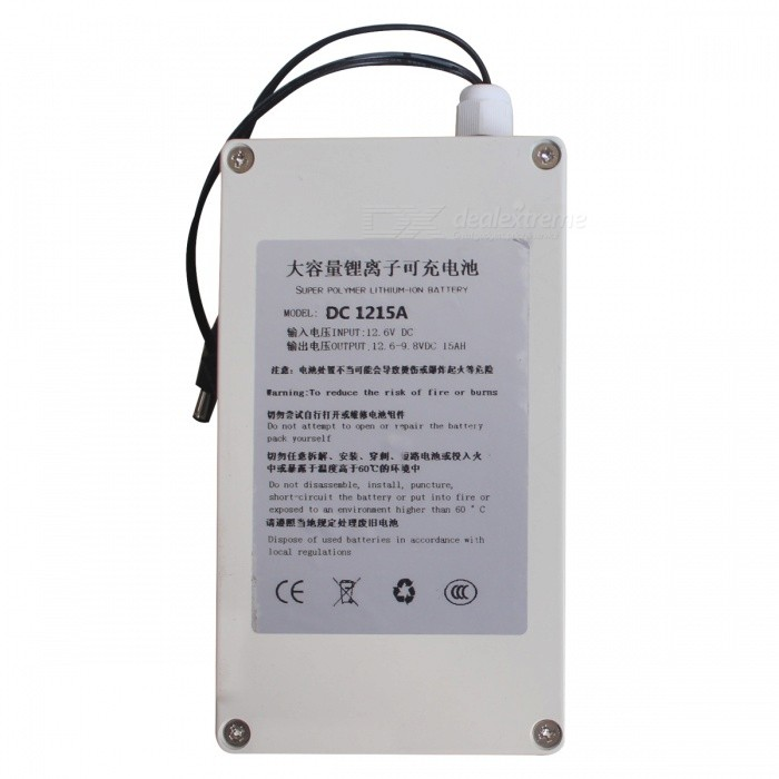 Waterproof 15000mAh 12V Rechargeable Battery with Switch - White
