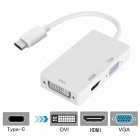 Cwxuan 3-in-1 USB 3.1 Type-C to DVI, HDMI, VGA HD Adapter - White