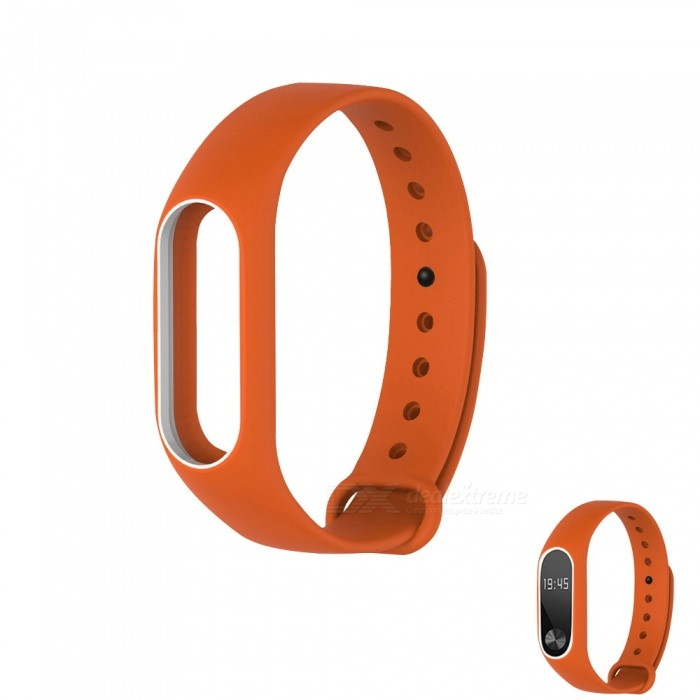 Replacement TPU Wrist Band for Xiaomi MI Band 2 - Orange WhiteWearable Device Accessories<br>Form  ColorOrange with WhiteQuantity1 DX.PCM.Model.AttributeModel.UnitMaterialTPUPacking List1 x Wristband<br>