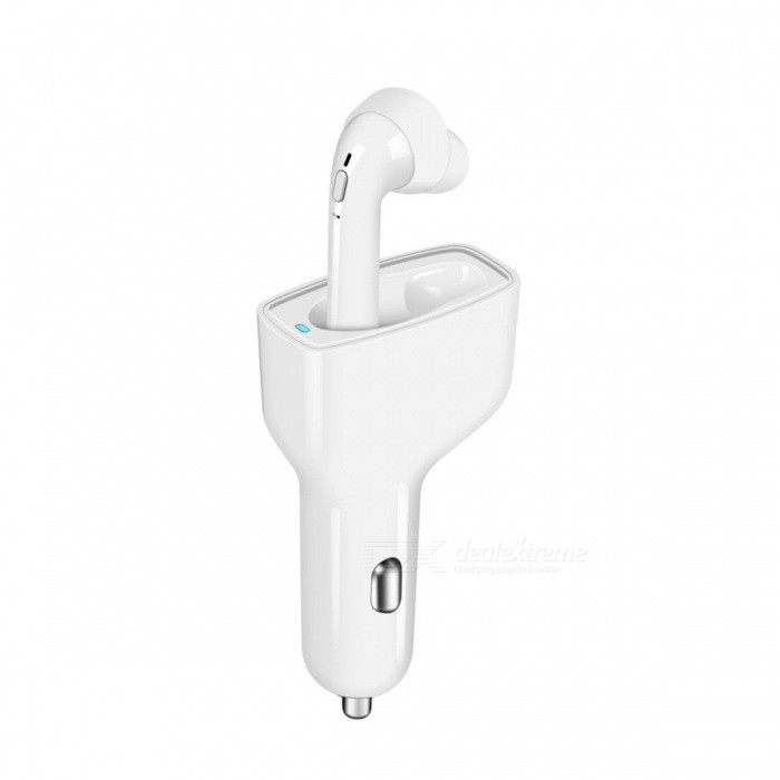 USB Car Charger, Bluetooth V4.1 Wireless Earphone - White