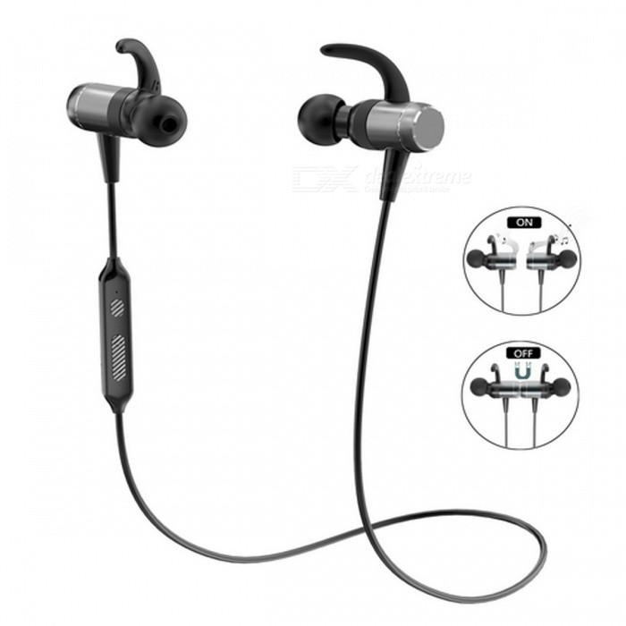 OLDSHARK Bluetooth V4.1 Intelligent On/Off Magnetic Earphone - BlackHeadphones<br>Form  ColorBlack + Silver GreyBrandOthers,OldsharkModelN/AMaterialMetel+ABSQuantity1 pieceConnectionBluetoothBluetooth VersionBluetooth V4.1Bluetooth ChipCSR8645Operating Range10mConnects Two Phones SimultaneouslyYesCable Length54 cmHeadphone StyleBilateral,In-EarWaterproof LevelIPX6Applicable ProductsUniversalHeadphone FeaturesEnglish Voice Prompts,Long Time Standby,Magnetic Adsorption,Volume Control,With Microphone,For Sports &amp; ExerciseRadio TunerNoSupport Memory CardNoSupport Apt-XYesSNR98dBFrequency Response20-20000HzImpedance32 ohmBattery TypeLi-ion batteryBuilt-in Battery Capacity 150 mAhStandby Time240 hoursTalk Time6 hoursMusic Play Time8 hoursPower Supply5VPacking List1 x OldShark Bluetooth 4.1 Earphone1 x USB Charging Cable1 x Storage Bag1 x Sports Wristband2 x Pair of Extra Earbuds2 x Pair of Extra Ear Hooks2 x Clips1 x English User Manual<br>