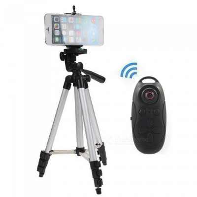 Cwxuan Retractable Tripod Mount Holder with Bluetooth Control -Silver