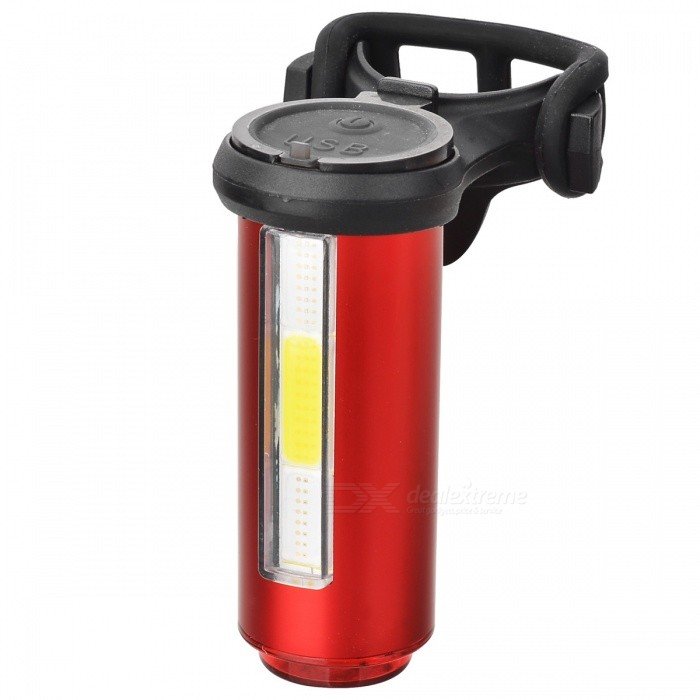 USB Rechargeable 3 Colors Light Bike Warning Lamp - Red