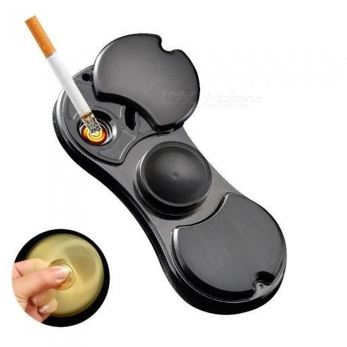2-in-1 Metal Cigarette Fingertip Gyro Heat Wire Lighter - Black